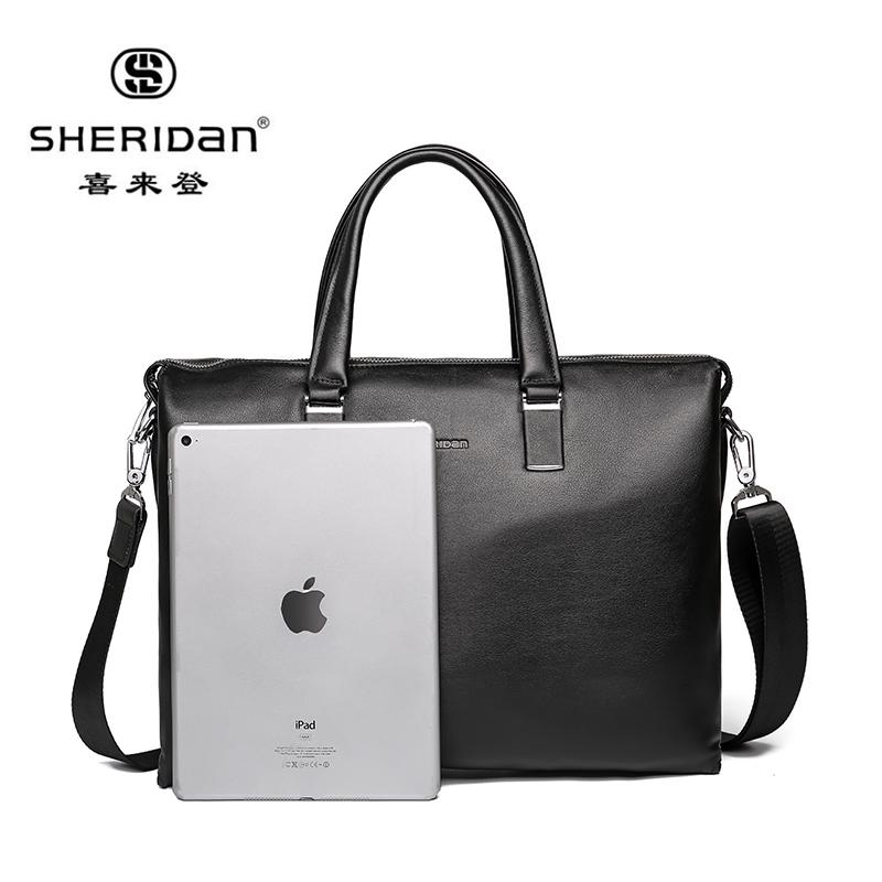 SHERID AN 喜来登 男包公文包商务经典手拎包男士皮包大容量带拉链手提包黑色NL160933 黑色